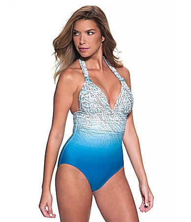 Coco Contours Ribbon Reef Halter One-Piece Swimsuit