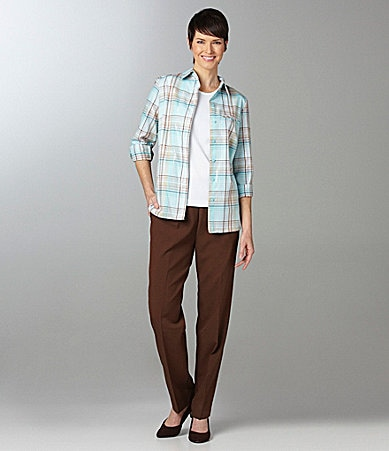 Allison Daley Metallic Plaid Camp Shirt, Sleeveless Shell & Pull-On Pants