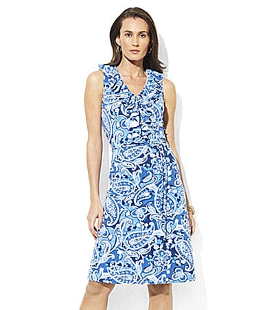 Lauren  Ralph Lauren Petites Ruffled Modal Jersey Dress