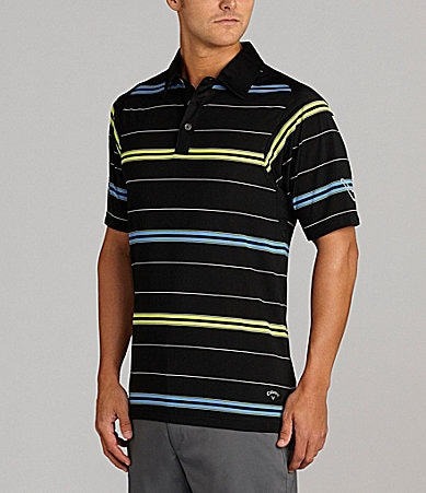 Callaway Colorblock Striped Polo Shirt