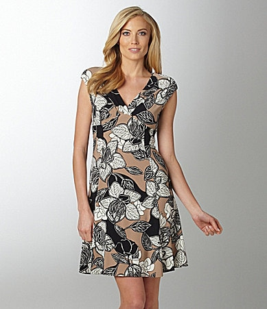 Jones New York Floral-Print Matte Jersey Dress
