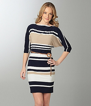 Jones New York Striped Jersey Dress