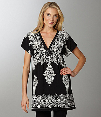 Calessa Printed V-neck Tunic