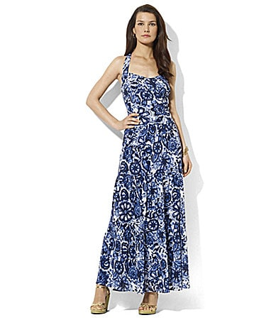 Lauren Ralph Lauren Dress Tiered Cross-Back Maxi Dress