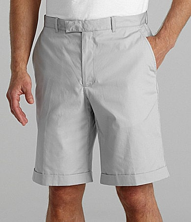 Perry Ellis Cottons Flat Front Solid Cotton Shorts