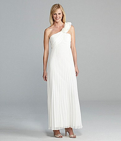 Xscape Pleated One-Shoulder Gown