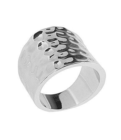 Tivoli Silvertone Hammered Ring