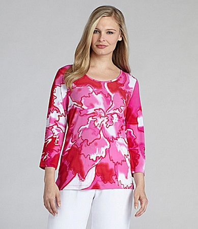 Multiples Placement Floral Print Top