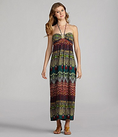 Moa Moa Printed Halter Maxi Dress