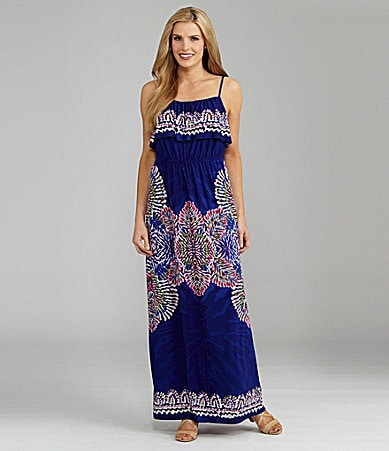 I.N. Studio Ruffle Overlay Print Maxi Dress