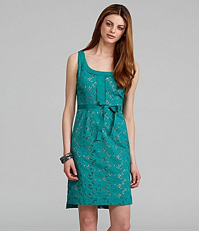 T Tahari Jessie Sleeveless Eyelet Dress