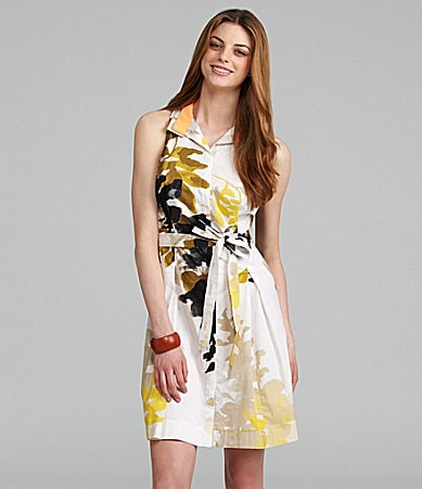 T Tahari Sutton Sleeveless Tie-Waist Shirtdress