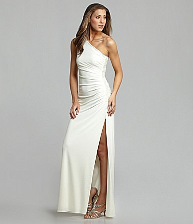 Laundry by Shelli Segal Side-Beaded One-Shoulder Gown