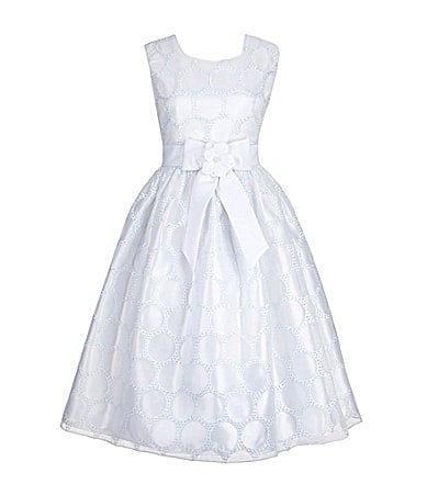 American Princess 7-12 Circle Embroidered Satin Dress