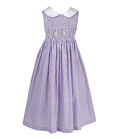 Laura Ashley London 2T-6X Striped Smocked Dress