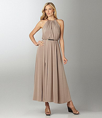 Maggy London Pleated Halter Maxi Dress
