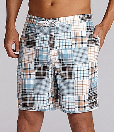 Roundtree & Yorke Printed Plaid Patchwork Swim Trunk