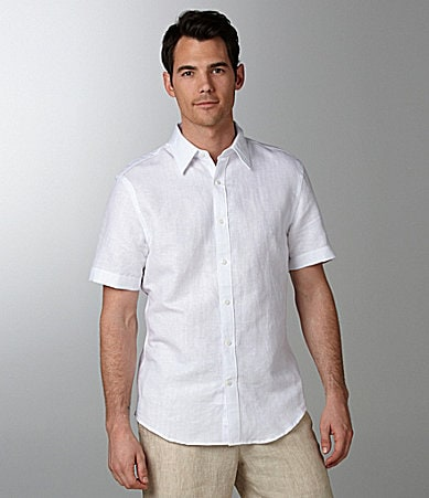 Perry Ellis Big & Tall Linen-Cotton Blend Herringbone Sportshirt