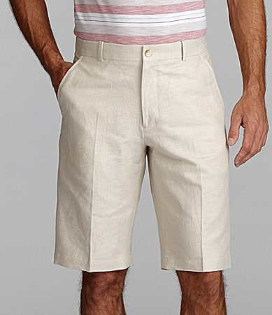 Perry Ellis Big & Tall Flat-Front Herringbone Shorts