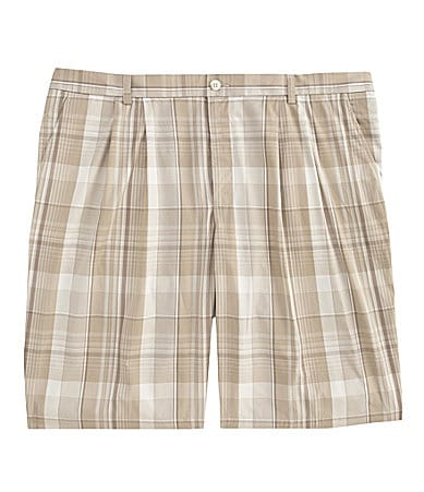 Perry Ellis Big & Tall Plaid Shorts