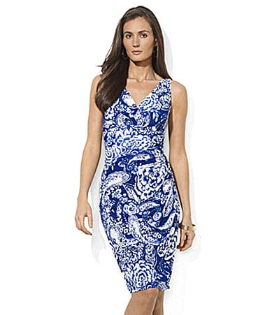 Lauren Ralph Lauren Dress Paisley Matte Jersey V-Neck Dress