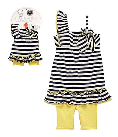 Sweet Heart Rose for Dollie & Me 3-7 Striped Dress & Biker Shorts Set