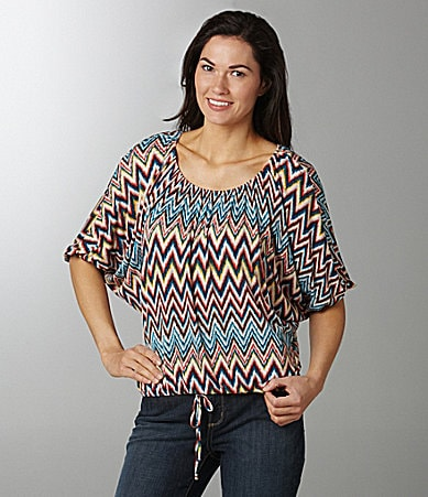 Bobeau Print Knit Peasant Top