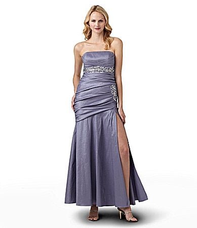 Hailey by Adrianna Papell Strapless Beaded Gown