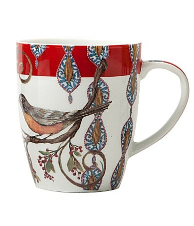 Prima Donna Designs Morning Song Mug with Red Rim in Gift Box