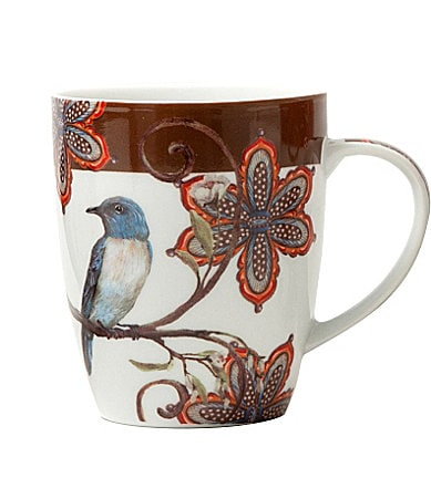 Prima Donna Designs Morning Song Mug with Brown Rim in Gift Box