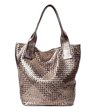 Elliott Lucca Metallic Intreccio Woven Leather Tote