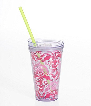 Formation Pink Damask Hot/Cold Tumbler with Lid and Straw