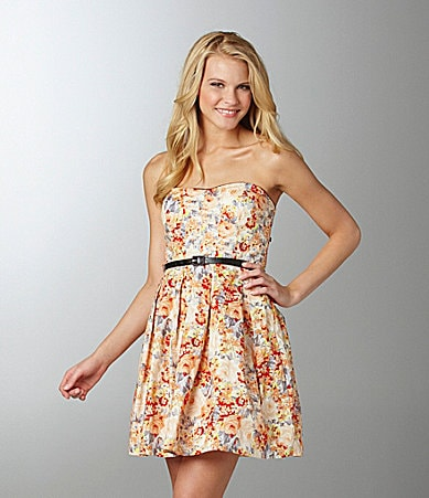 As U Wish Belted Floral-Print Dress