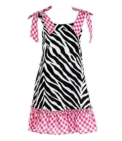 Pippa & Julie 2T-6X Zebra/Checked Print Woven Dress