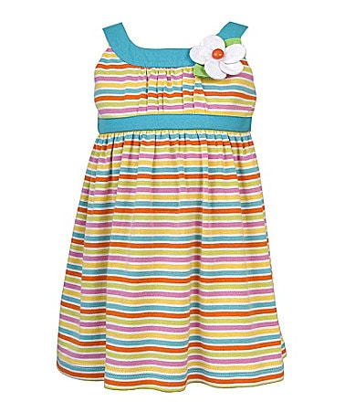 Rare Editions 2T-6X Rainbow Striped Knit Dress