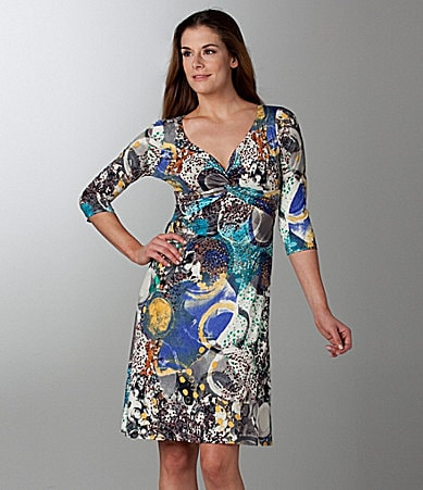 Laura Max V-Neck Print Dress
