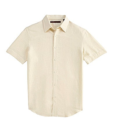 Perry Ellis Linen-Cotton Blend Striped Sportshirt