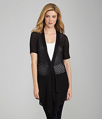 Investments Petites Shadow-Stripe Cardigan