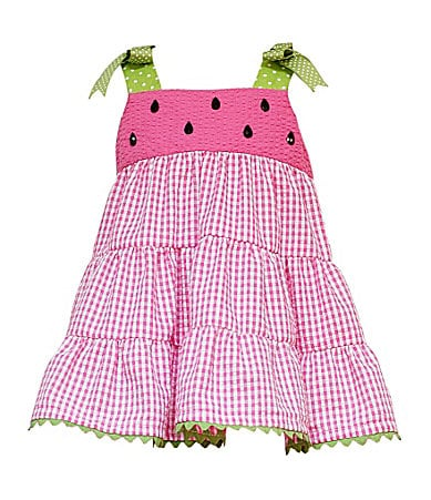 Rare Editions Infant Watermelon Seersucker Tiered Dress