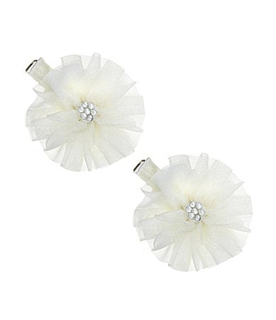 Copper Key Ruffle Flower Clip 2-Pack
