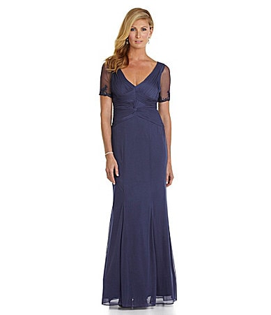 Adrianna Papell Beaded Ruched-Bodice Gown