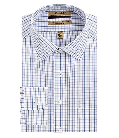 Roundtree & Yorke Gold Label Plaid Point-Collar Dress Shirt