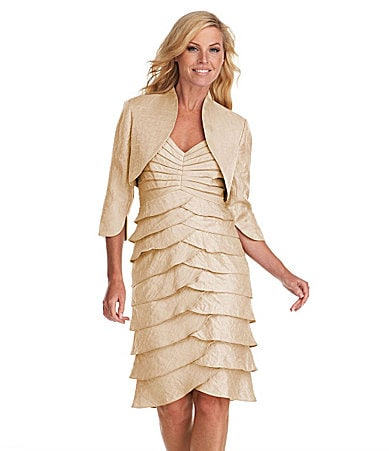 Adrianna Papell Petites Tiered Bolero Jacket Dress
