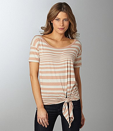 Alternative Apparel Tie-Front Stripe Top