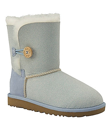 UGG Australia Girls Bailey Button Denim-Print Boots