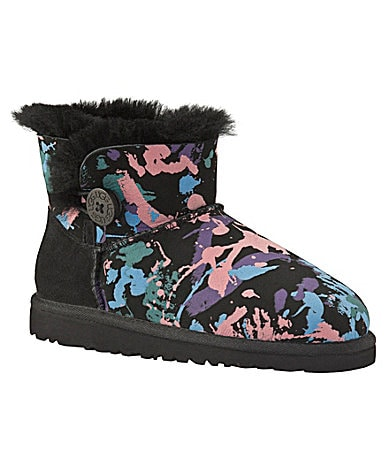 UGG Australia Girls Mini Bailey Button Paint Splatter Boots