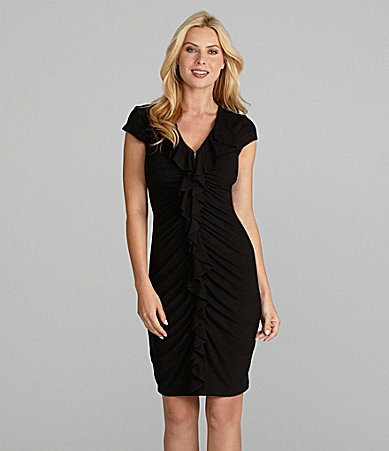 Karen Kane Ruffle-Front Zipper Dress