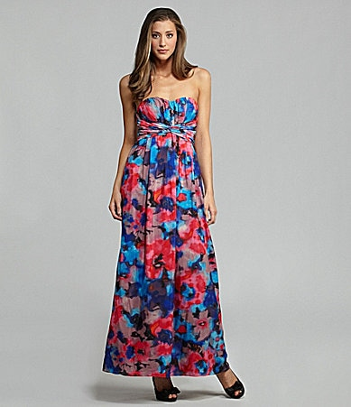 Jessica Simpson Woman Strapless Floral-Print Maxi Dress