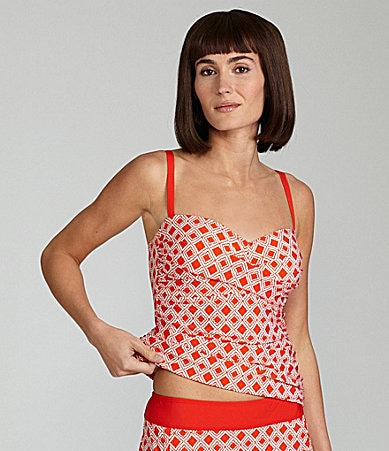 Alex Marie Swim Diamond Print Tankini Top