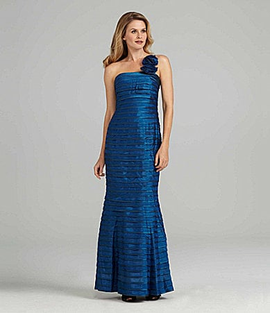 JS Collections One-Shoulder Pintuck Gown